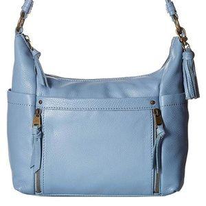 The Sak Keira Blue Leather Hobo Boho Bag